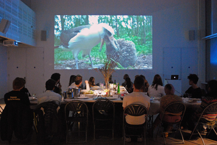 "Watching a Chris Jordan's groundbreaking artistic film ""Albatross"" during Art & Climate Change first workshop"