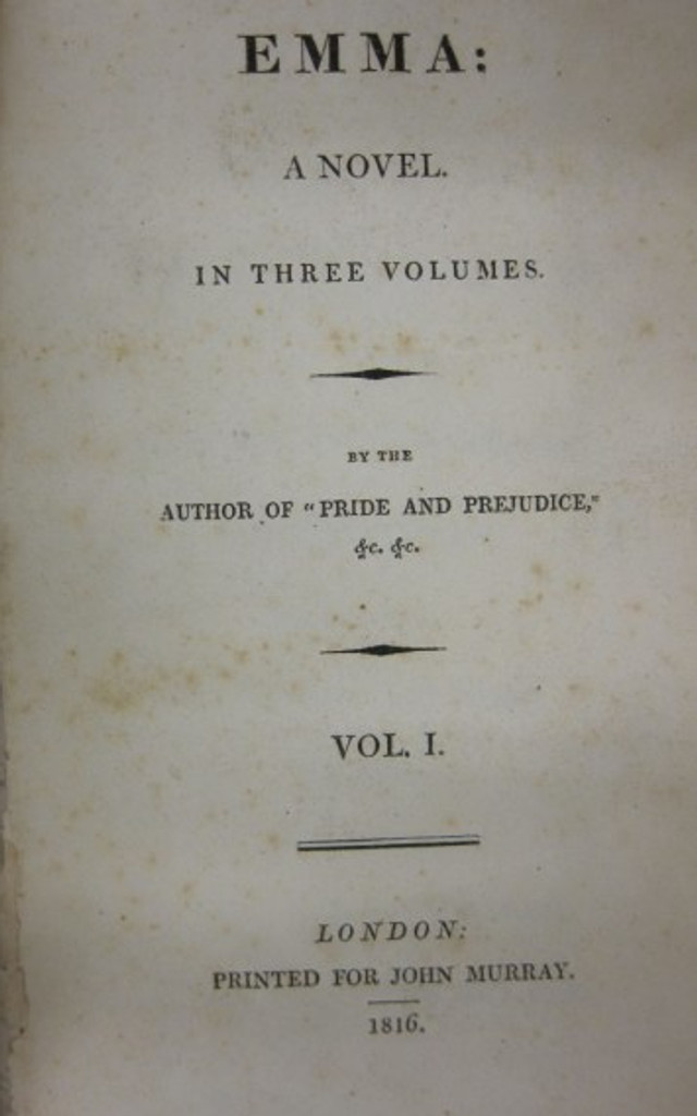 "First edition  ""Emma"" ( Z. Smith Reynolds Library, Wake Forest University)"