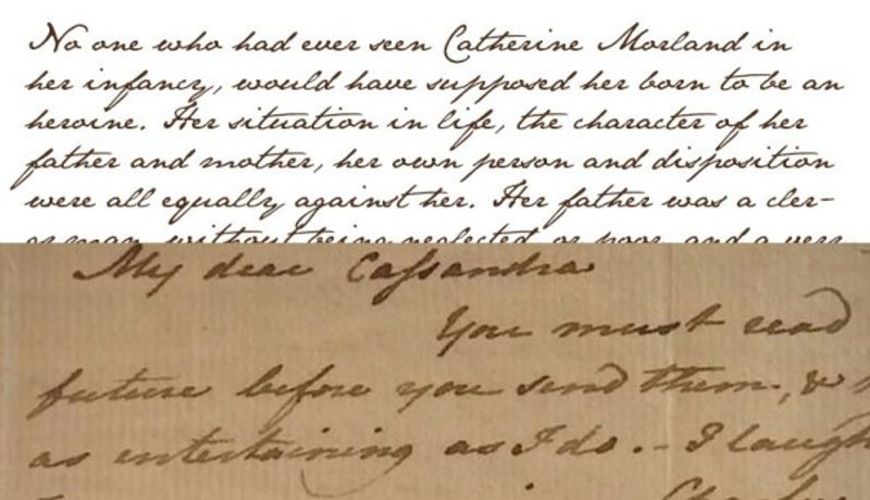 The Jane Austen typeface (top) and a copy of one of her letters to her sister.