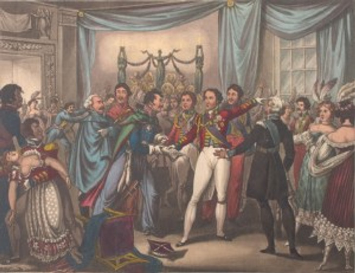 "William Heath's ""Intelligence of the Battle of Ligny"" (1818) depicts the Duke of Wellington at the ball receiving word that the French have arrived."