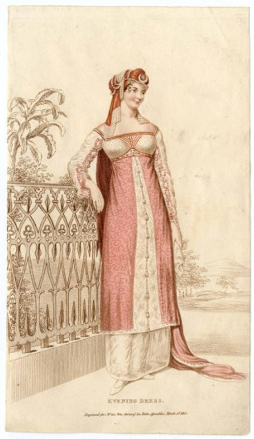 Evening Dress Fashion plate 1813,  courtesy of the Metropolitan Museum of Art.