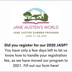 Reminder: JASP moves to 2021; let us know how to handle your 2020 registration fee