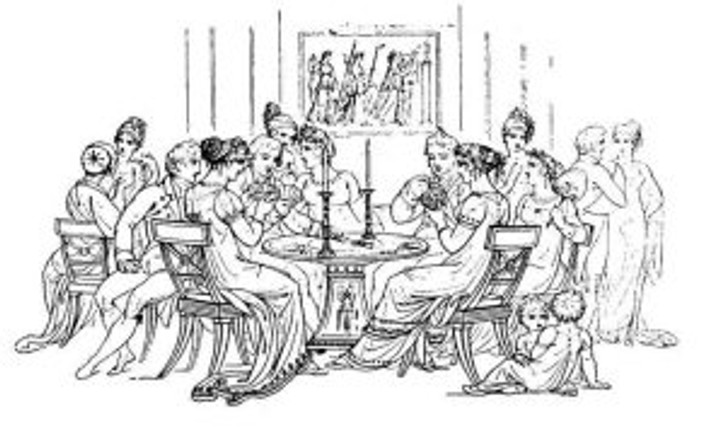 whist tables of men and women with counters