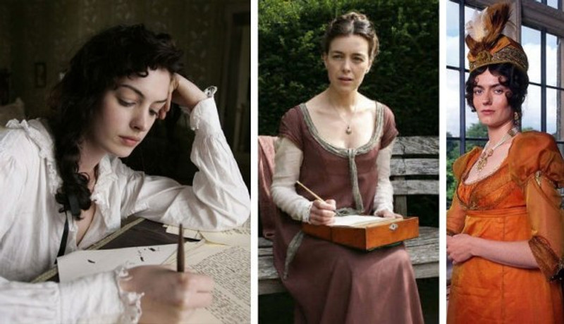 composite image of stills from Becoming Jane, Miss Austen Regrets, and Pride and Prejudice.