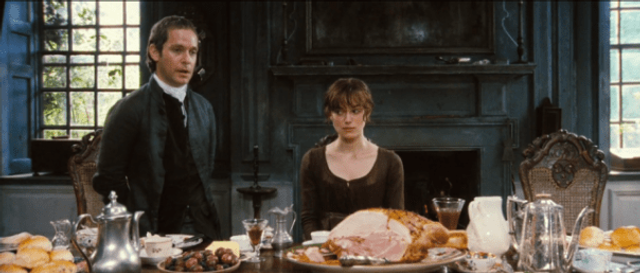 Keira Knightley and Tom Hollander in 'Pride and Prejudice.'