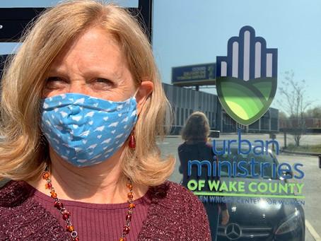 Karen Ringe delivers to Wake County's Helen Wright Center for Women