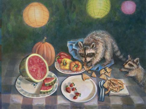 Raccoons at the Picnic