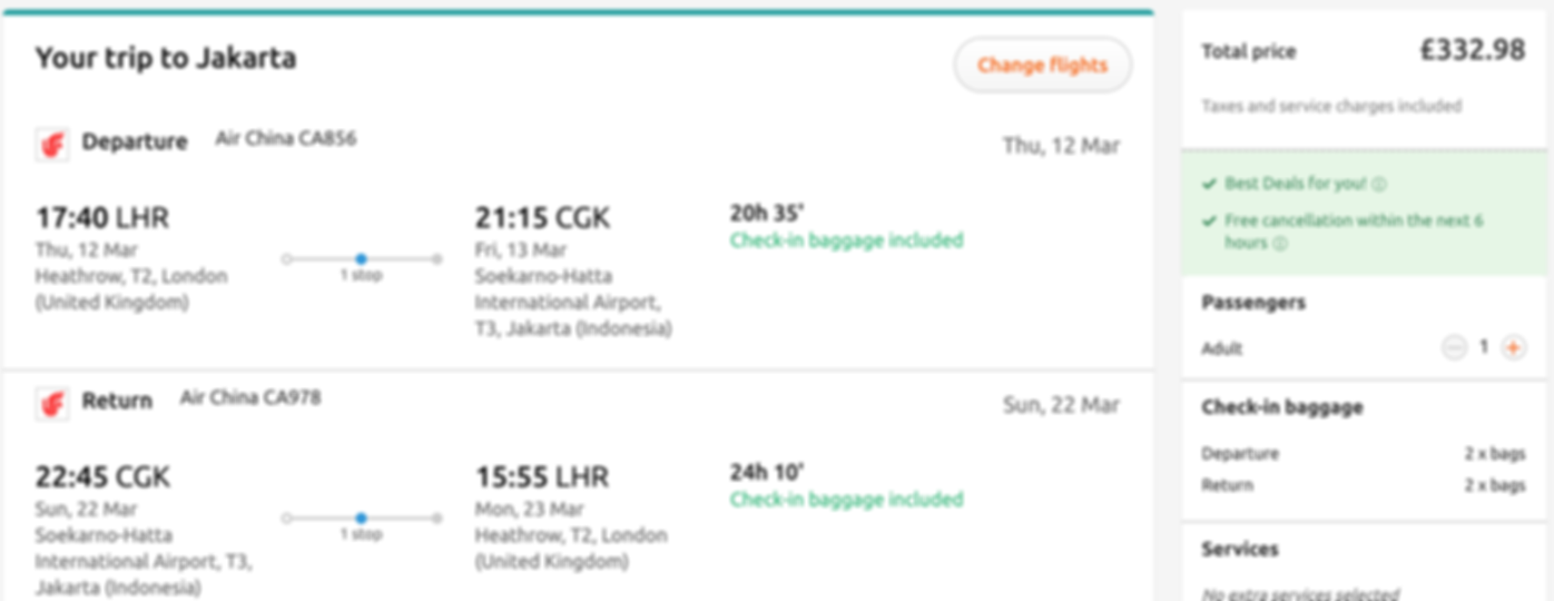 Fly to Jakarta from London for only £333 RTN