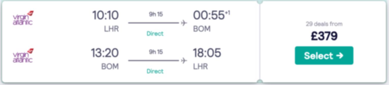 Flights to Goa or Mumbai (direct) from London at £379 RTN