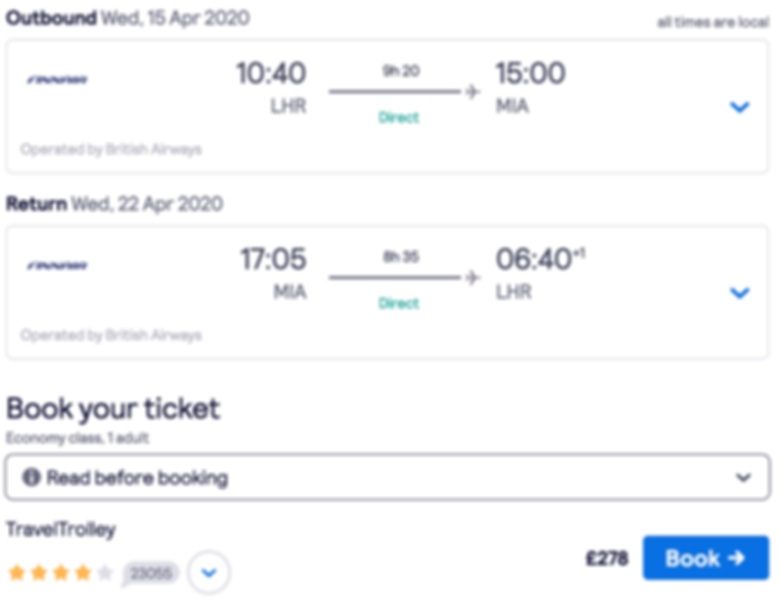 Flights to Miami from London at £278 RTN