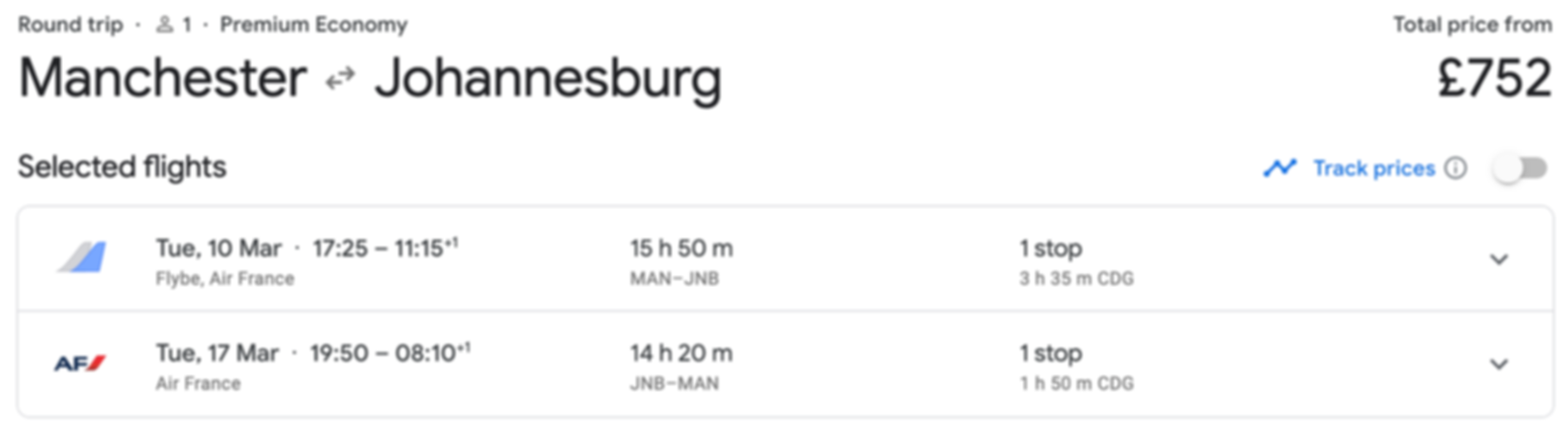 UK - Johannesburg [Premium Economy] from only £752 RTN