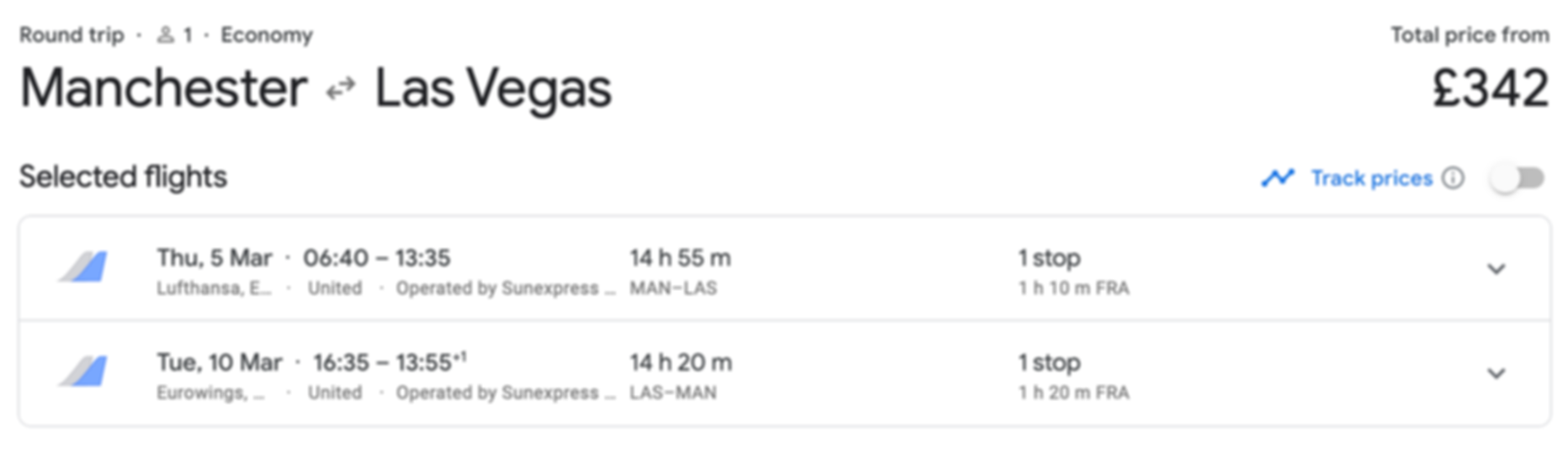 Las Vegas from Manchester for just £342 return