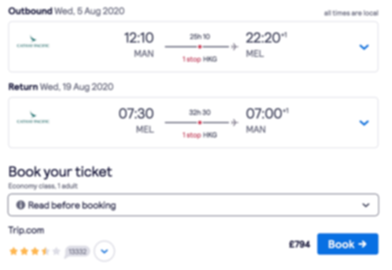 Flights to Melbourne from London or Manchester at £731 RTN (peak summer)