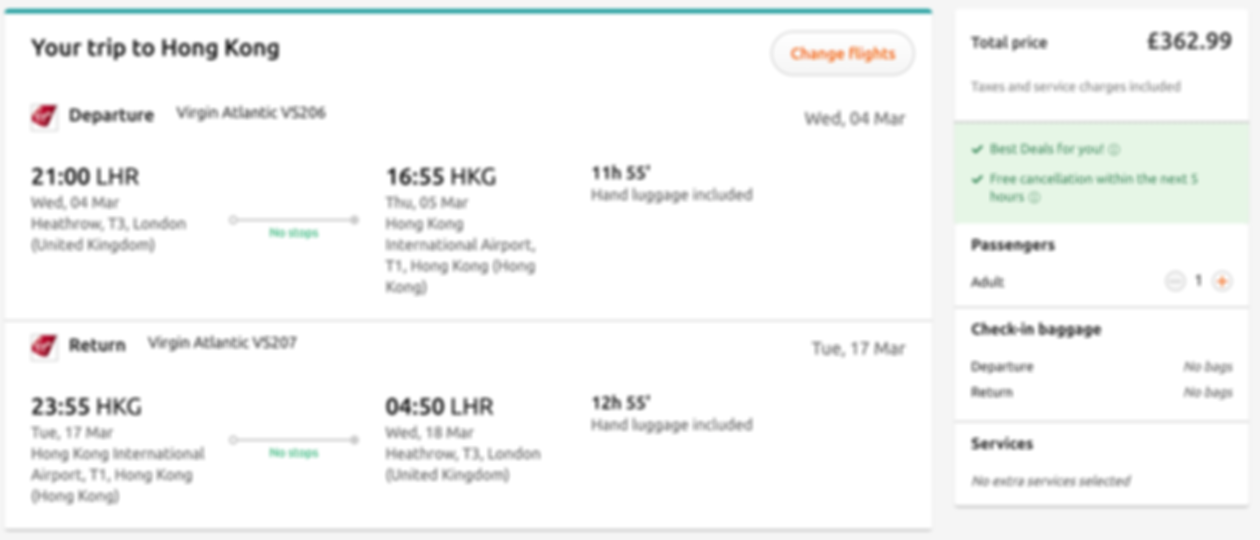 Flights to Hong Kong from London, Birmingham or Manchester, just £328 RTN