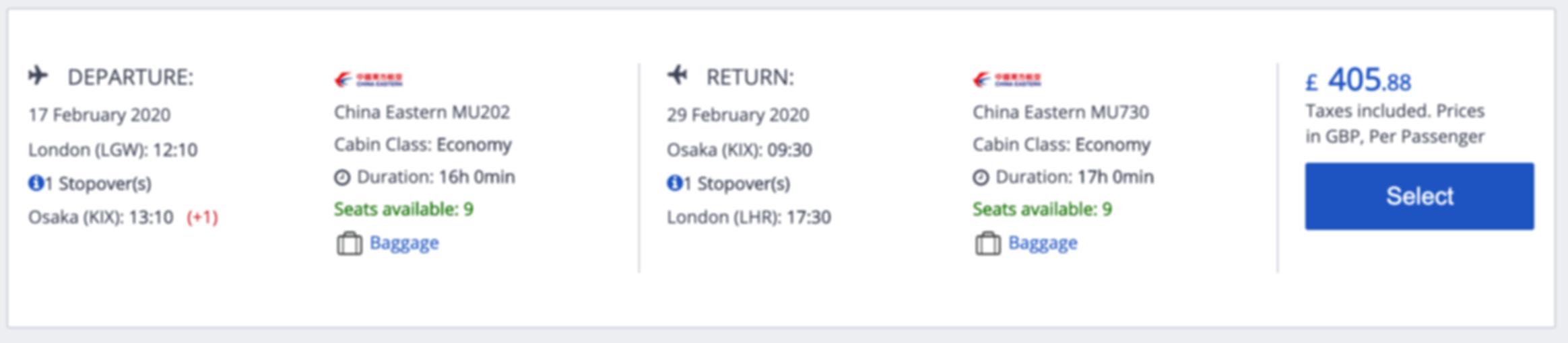 London - Osaka for just £405 RTN