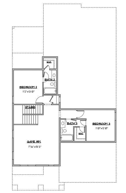 Shady Brook Tate plan / 2 story 3 bedroom plan second floor / Maykus Homes