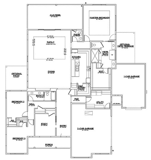 single story three bedroom floor plan