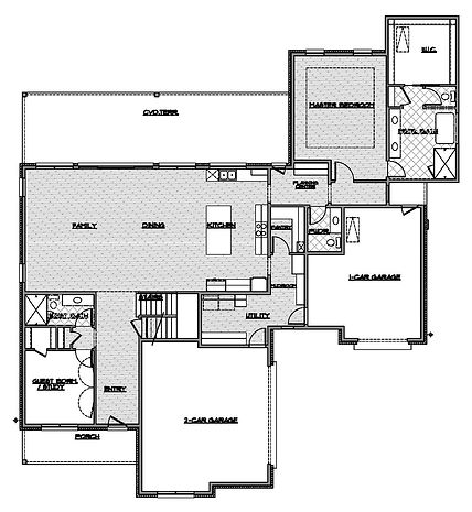 two story three bedroom first floor plan