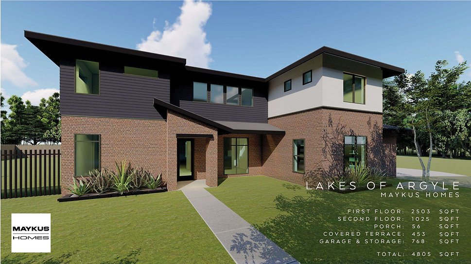 two story four bedroom Maykus Modern home in Lakes of Argyle, TX