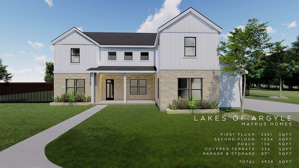 two story four bedroom traditional home by Maykus Homes in Lakes of Argyle, TX