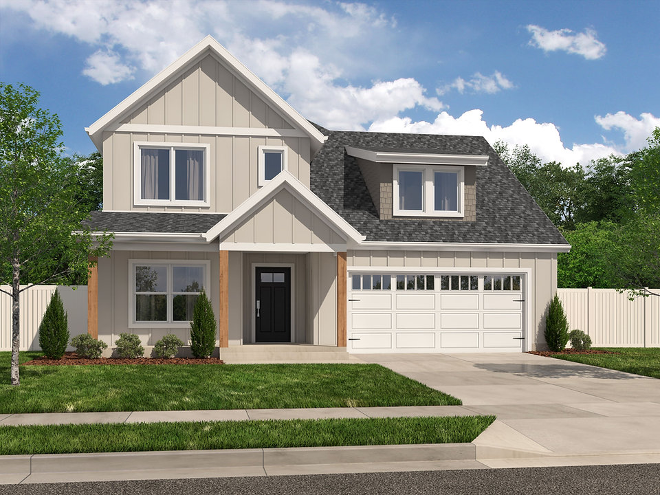 Shady Brook Tate plan rendering / 2 story 3 bedroom / Maykus Homes
