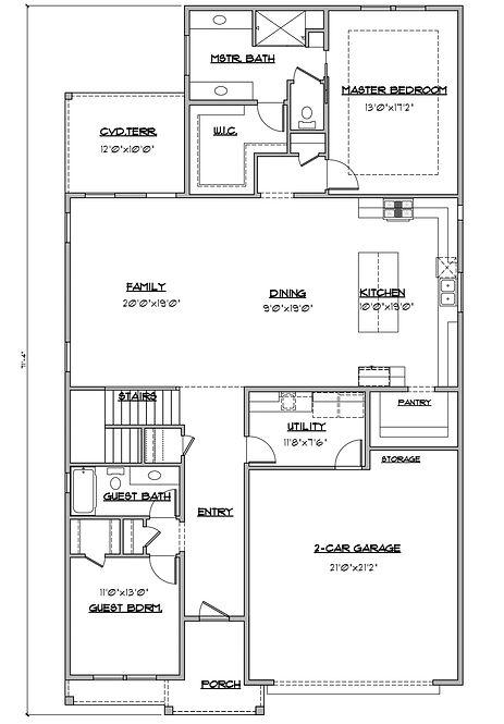 Shady Brook Tate plan / 2 story 3 bedroom plan first floor / Maykus Homes