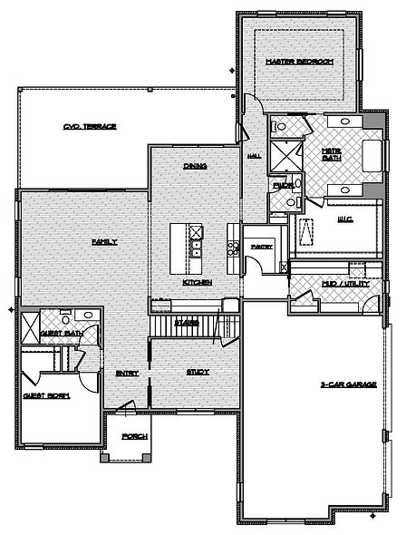two story four bedroom first floor plan / Maykus Homes / Lakes of Argyle