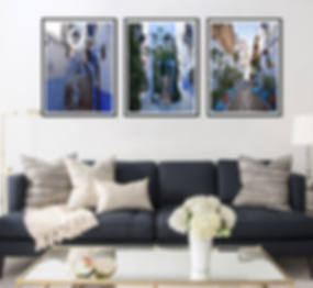 Chaouen Triptych in a room