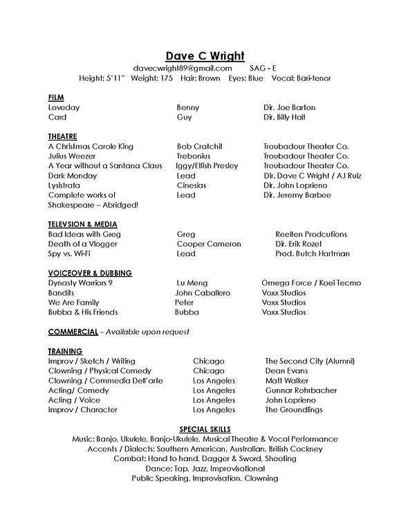 Dave C Wright Performance Resume (NO #)-