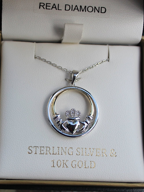 Sterling Silver & 10K Gold Claddagh w/ diamond Pendant