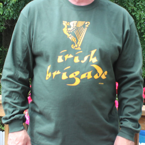 "LONG SLEEVE-Harp with Caligraphy ""Irish Brigade"" t-shirt- LONG SLEEVE"