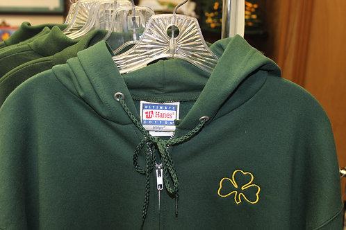Shamrock Green Sweatshirt Zip up with hood.