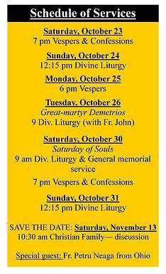 St Callinicus of Cernica Schedule of Services