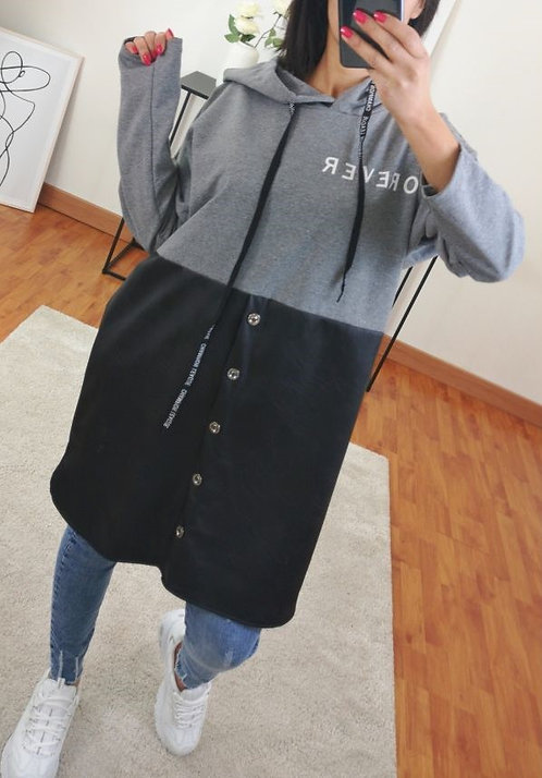 ROBE PULL FOREVER BI-MATIERE GRIS