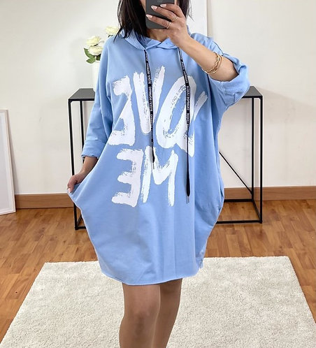 ROBE SWEAT A CAPUCHE LOVE ME BLEU