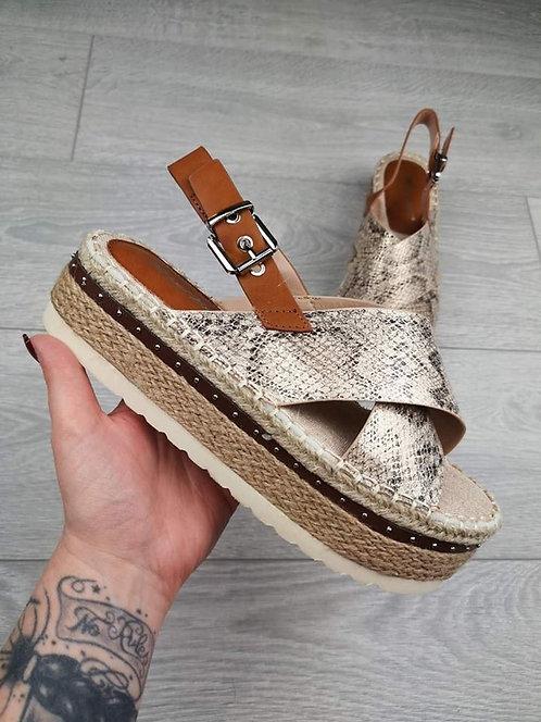 Sandales compensées python