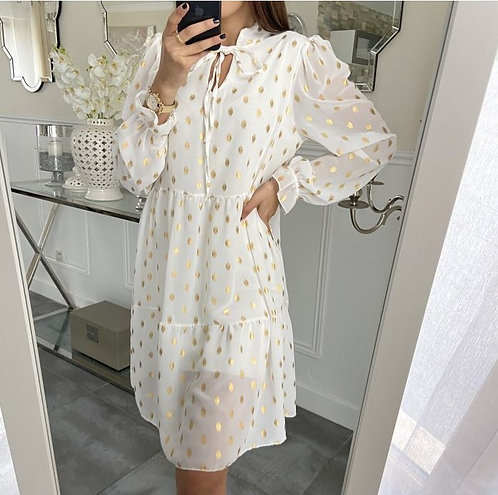 ROBE PLUMES DOREES BLANCHE