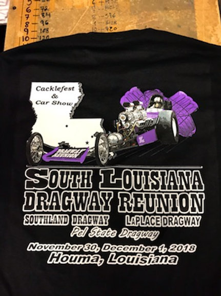 Black Event Shirt, Purple Twin Engine Dragster