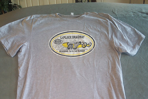 LaPlace Dragway Vintage, Distressed Shirt, Gray ShirtLaPlace