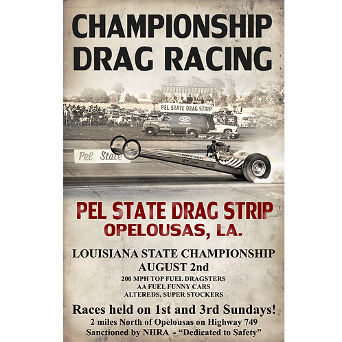 Vintage Pel State Dragway Poster