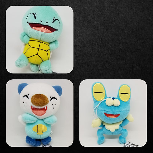 Pokemon Sun & Moon Korotto Manmaru Plush ~Squirtle, Oshawott, Froakie~
