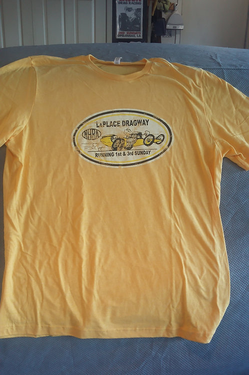 LaPlace Dragway Vintage, Distressed Shirt, Yellow Shirt