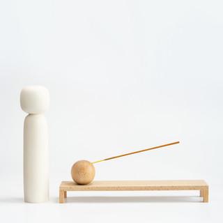 Incense burner and Jesmonite Kokeshi