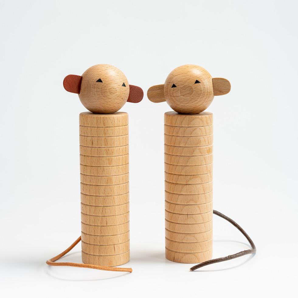 Monkey Kokeshi Duo
