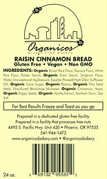 Organicos Gluten Free Bakery Raisin Cinnamon label