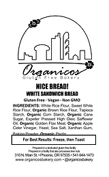 Organicos Gluten Free Bakery Nice Bread label