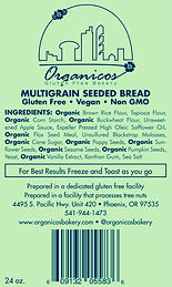 Organicos Gluten Free Bakery Multigrain Seeded label