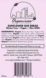 Organicos Gluten Free Bakery Sunflower Oat label