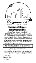 Organicos Gluten Free Bakery Sandwich Slippers label