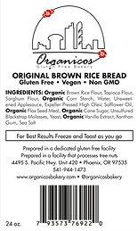 Organicos Gluten Free Bakery Brown Rice label